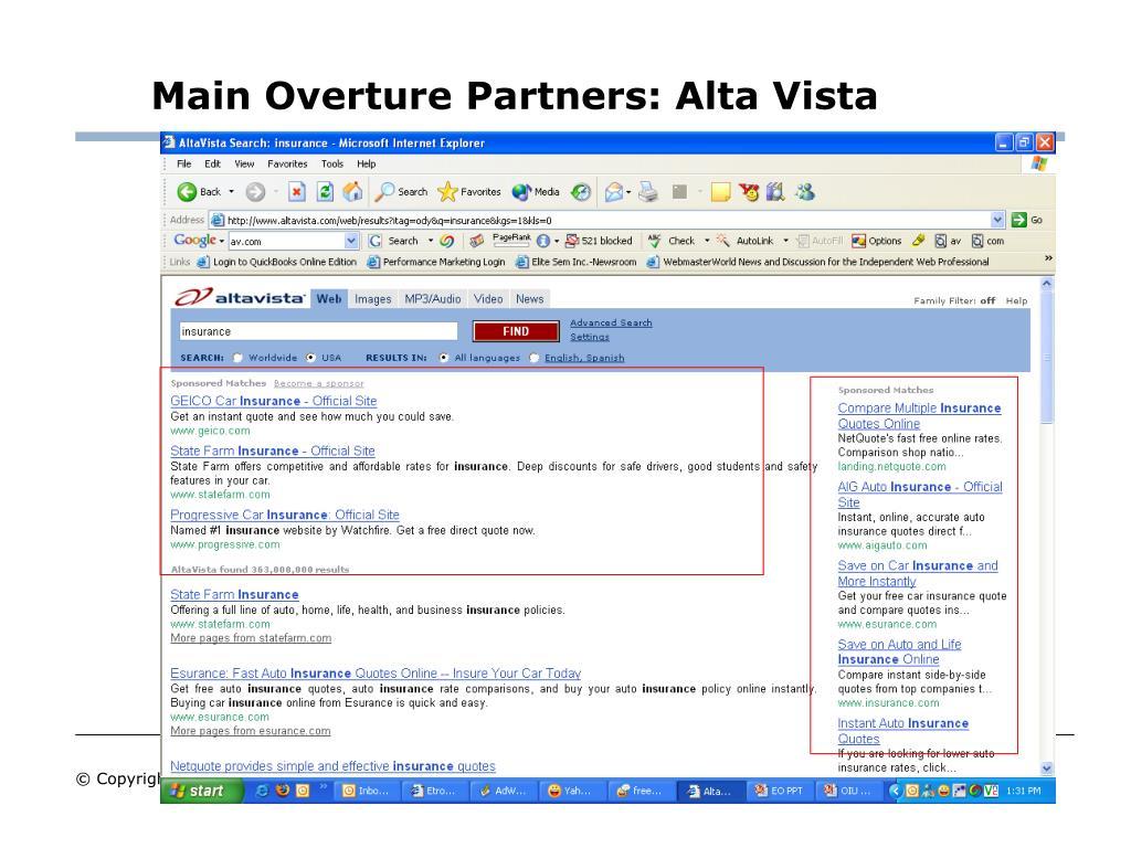 Main Overture Partners: Alta Vista