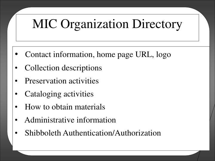 Contact information, home page URL, logo