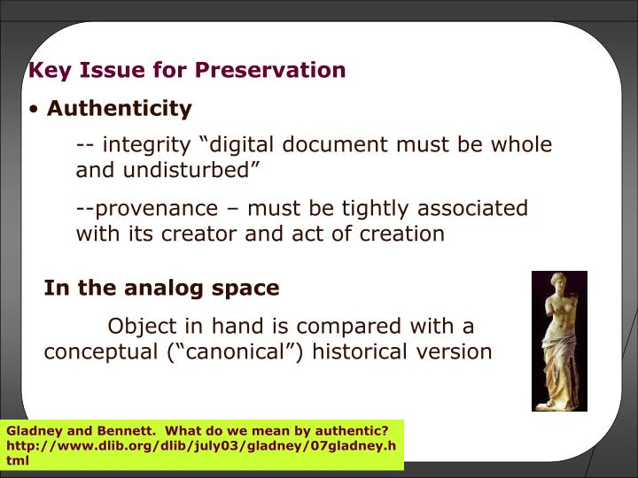 Key Issue for Preservation