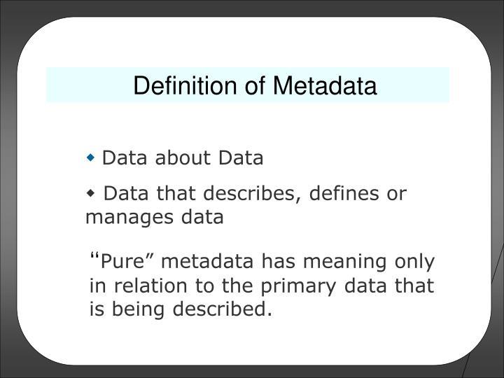 Definition of Metadata