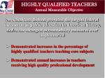 highly qualified teachers annual measurable objective
