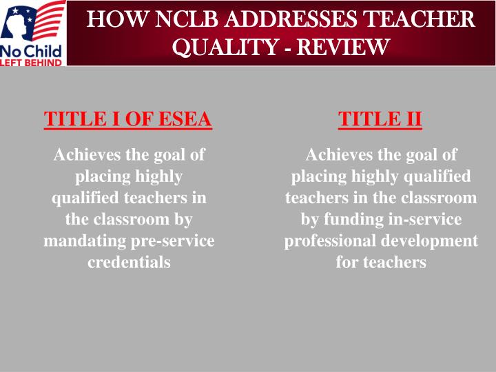 Achieves the goal of placing highly qualified teachers in the classroom by mandating pre-service credentials