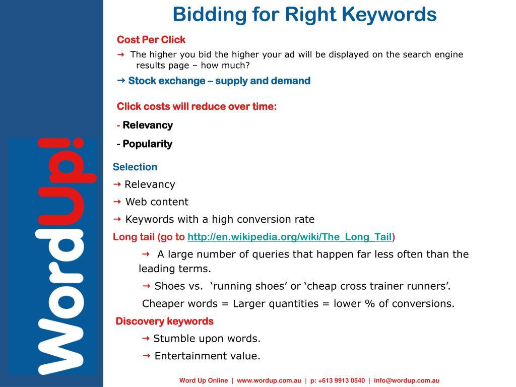 Bidding for Right Keywords