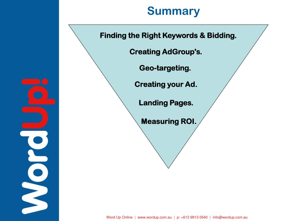 Finding the Right Keywords & Bidding.