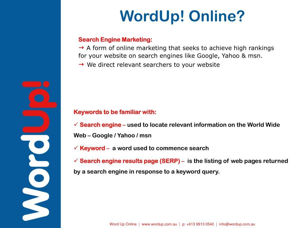 WordUp! Online?