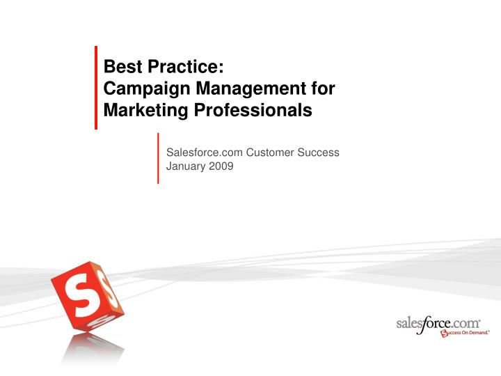 Best practice campaign management for marketing professionals
