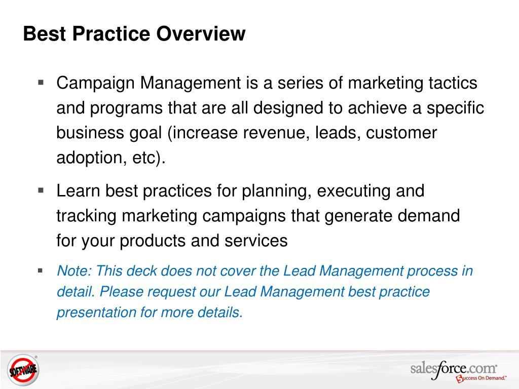 Best Practice Overview