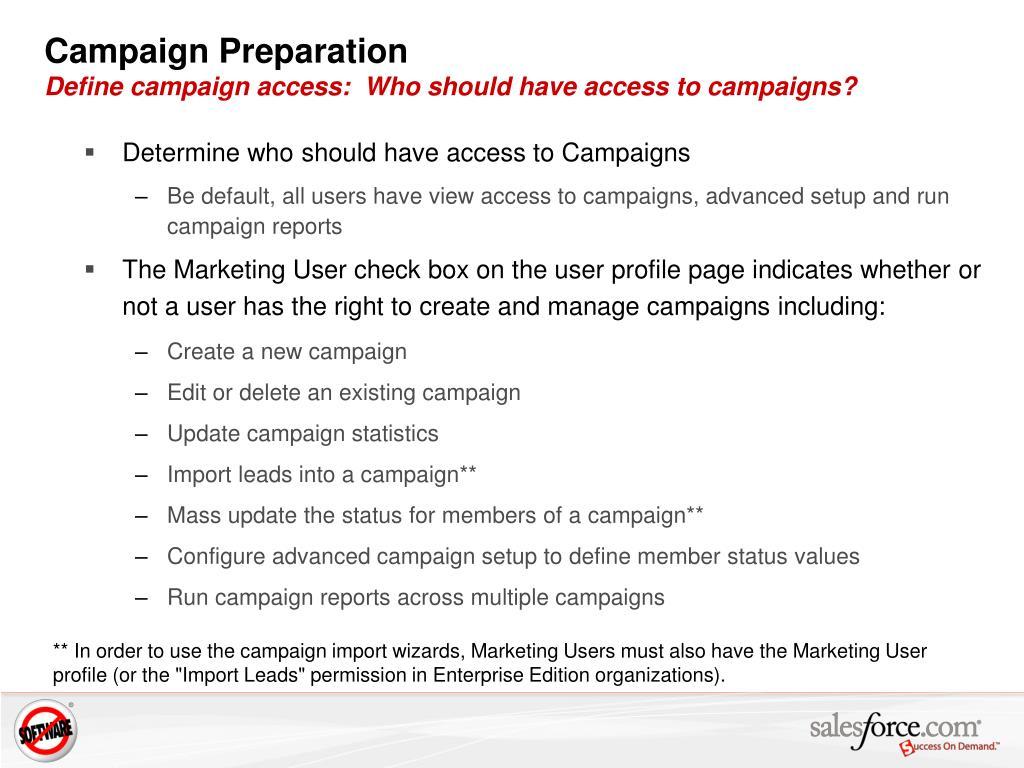 Campaign Preparation