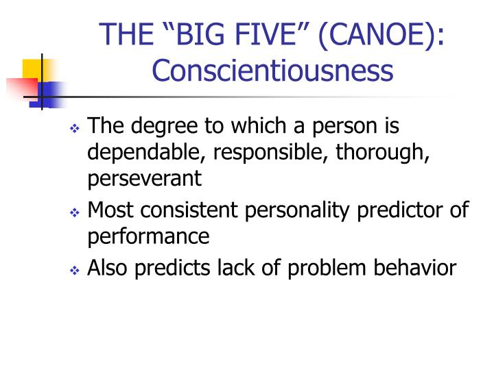 "THE ""BIG FIVE"" (CANOE):"