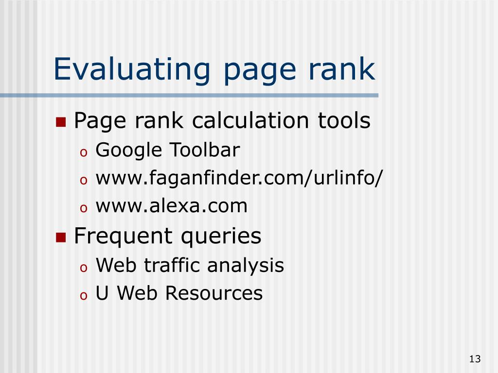 Evaluating page rank