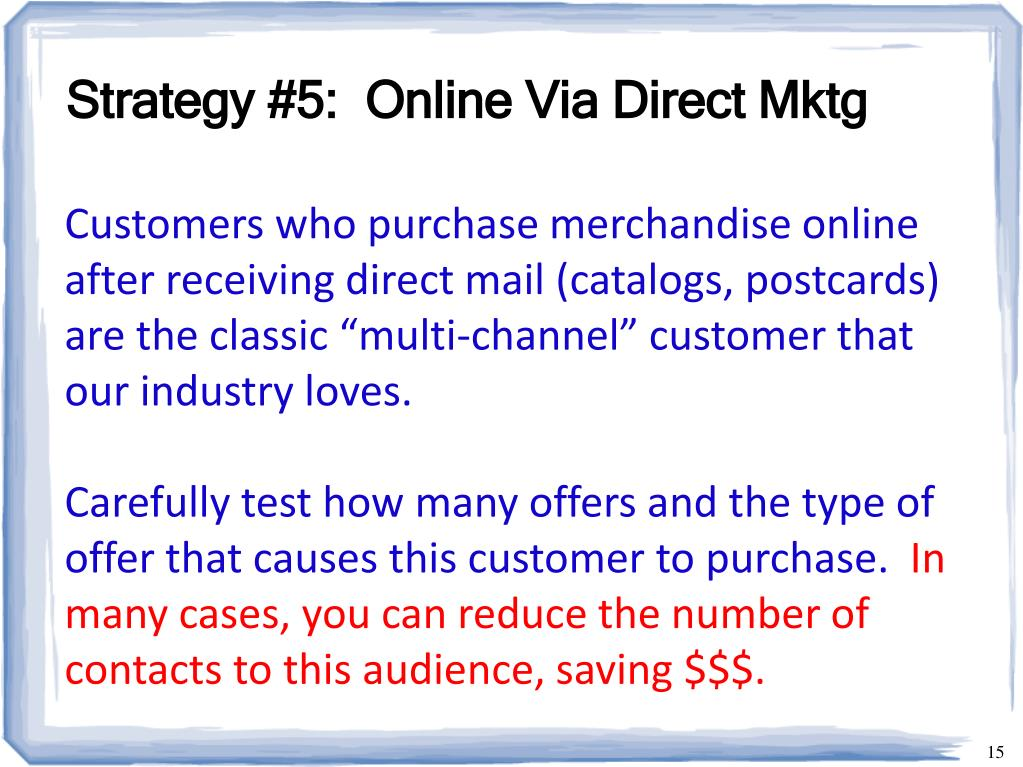 Strategy #5:  Online Via Direct Mktg
