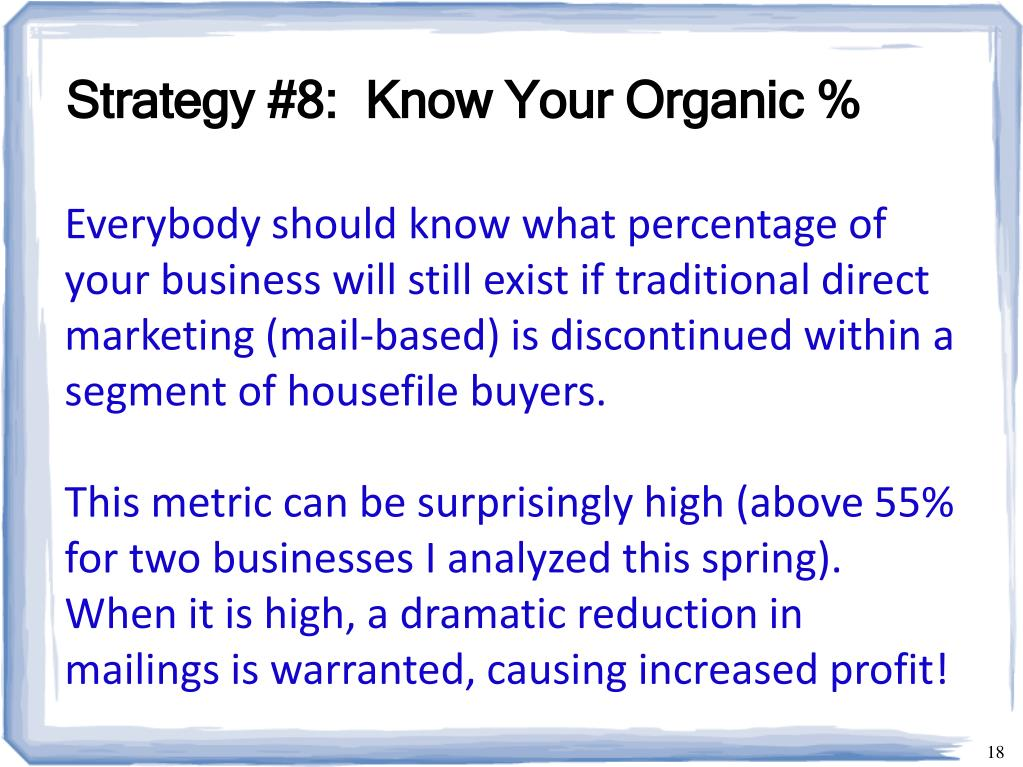 Strategy #8:  Know Your Organic %