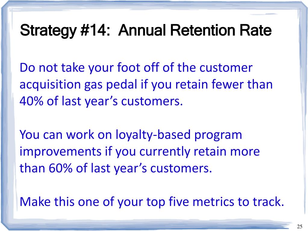Strategy #14:  Annual Retention Rate
