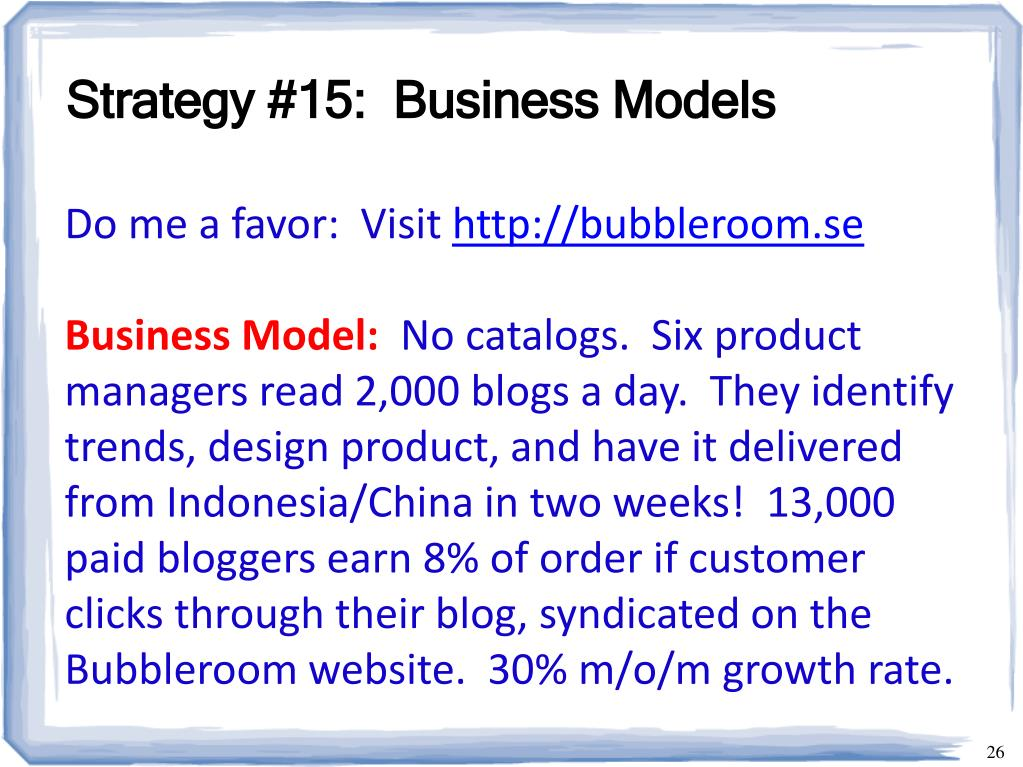 Strategy #15:  Business Models