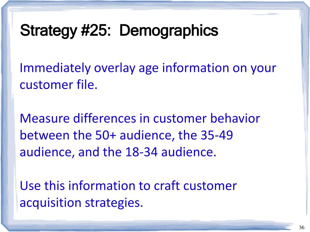 Strategy #25:  Demographics