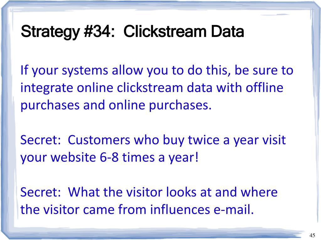 Strategy #34:  Clickstream Data