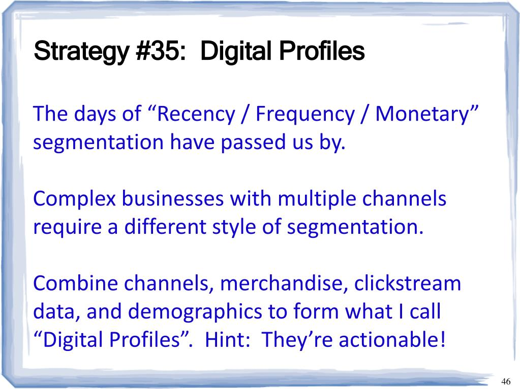 Strategy #35:  Digital Profiles