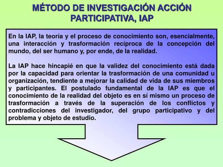 MTODO DE INVESTIGACIN ACCIN PARTICIPATIVA, IAP