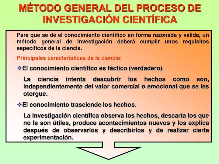 MTODO GENERAL DEL PROCESO DE INVESTIGACIN CIENTFICA