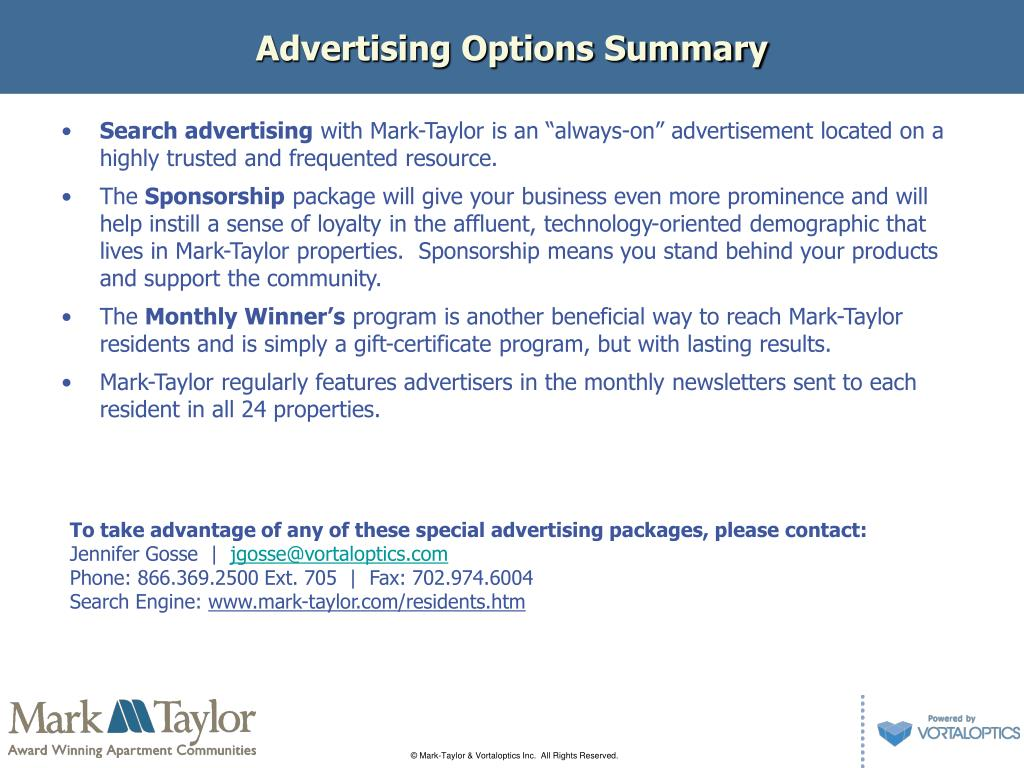 Advertising Options Summary
