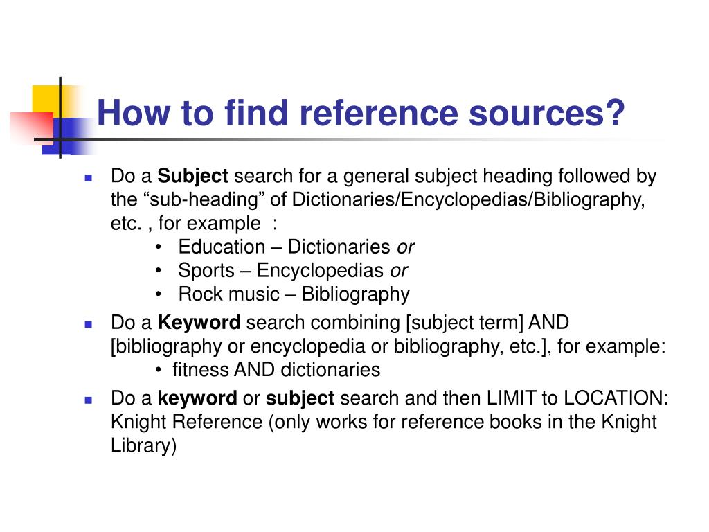 How to find reference sources?