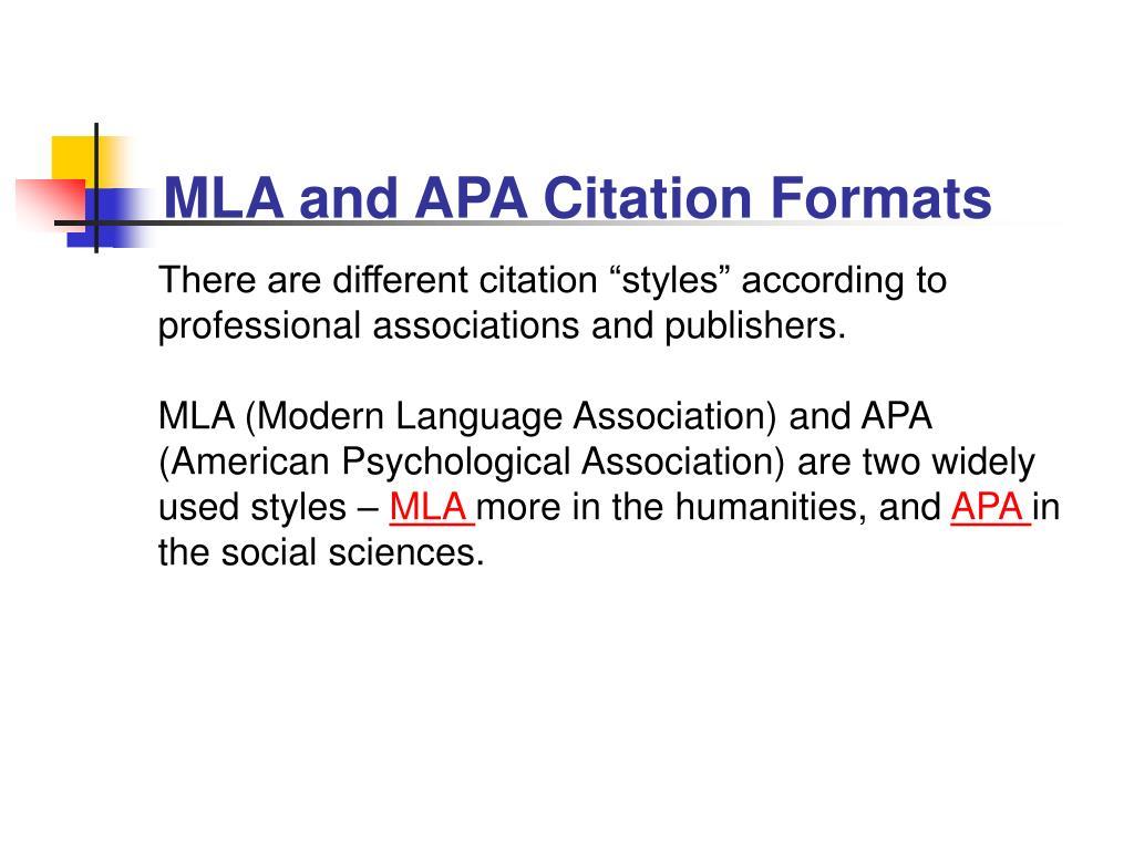 MLA and APA Citation Formats