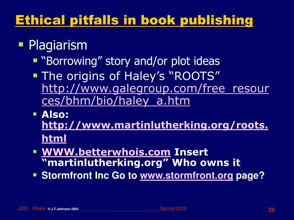 Ethical pitfalls in book publishing