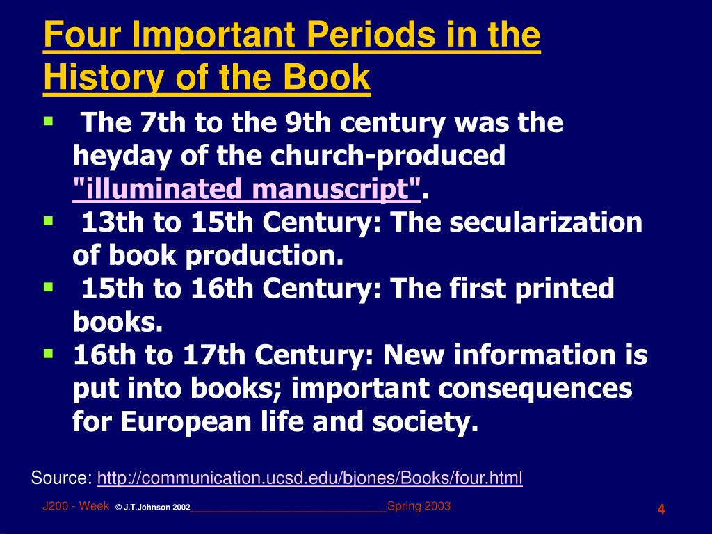 Four Important Periods in the History of the Book