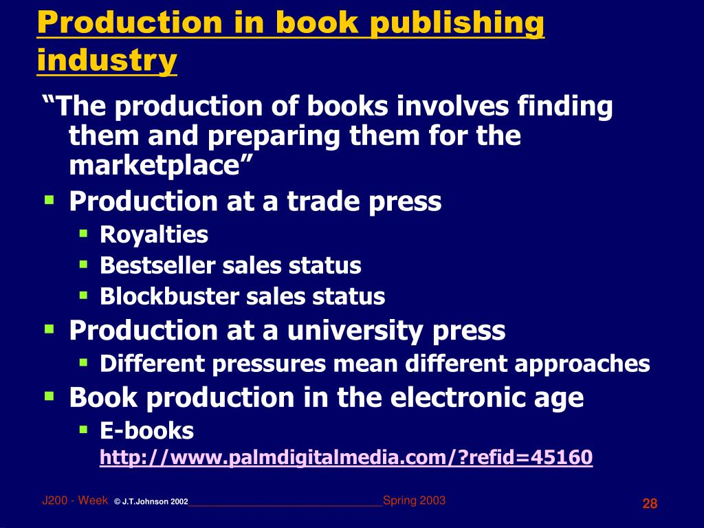 Production in book publishing industry