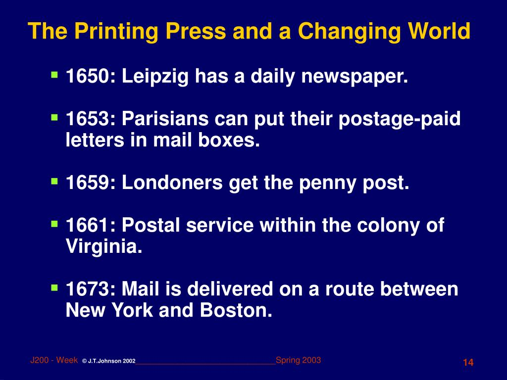 printing press and a changing world Understanding historically the impact of the printing press and printers on   eisenstein points out, however, that though the changes wrought by print were   things historically presupposes that the conception and construction of that world  is.