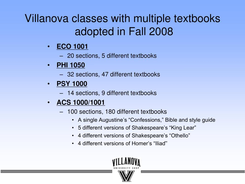 Villanova classes with multiple textbooks
