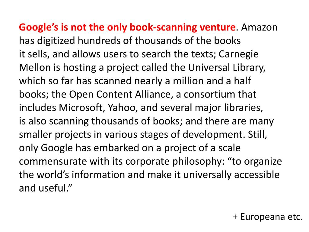 Google's is not the only book-scanning venture