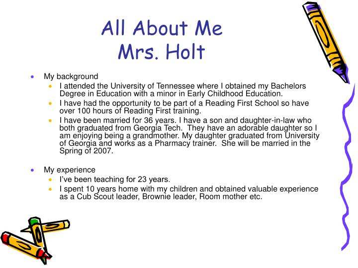 All about me mrs holt