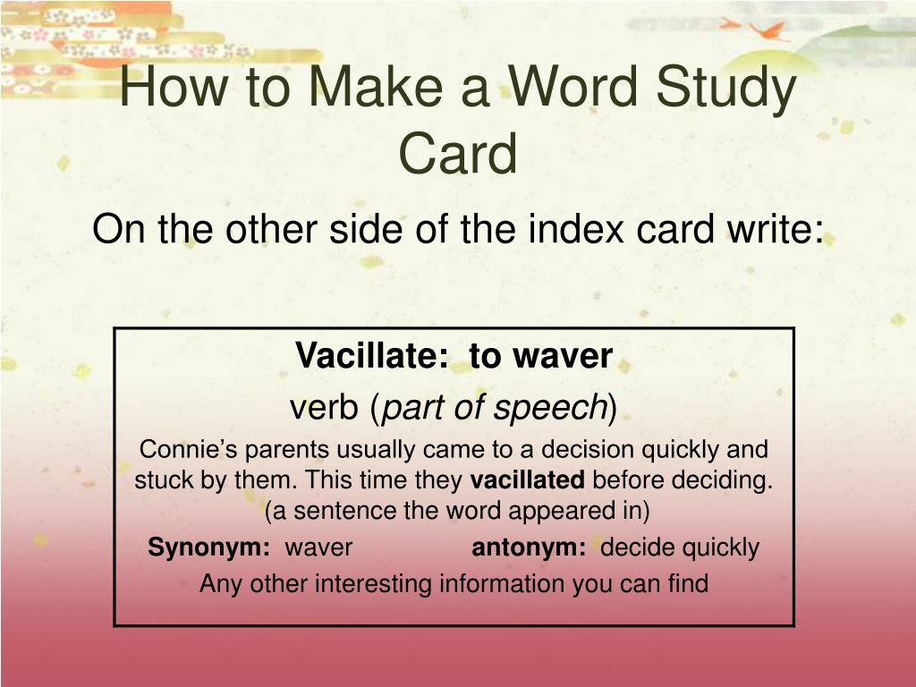 How to Make a Word Study Card