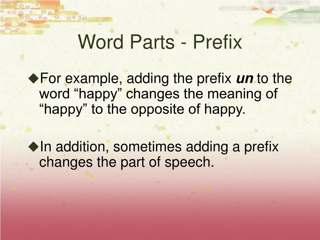 Word Parts - Prefix