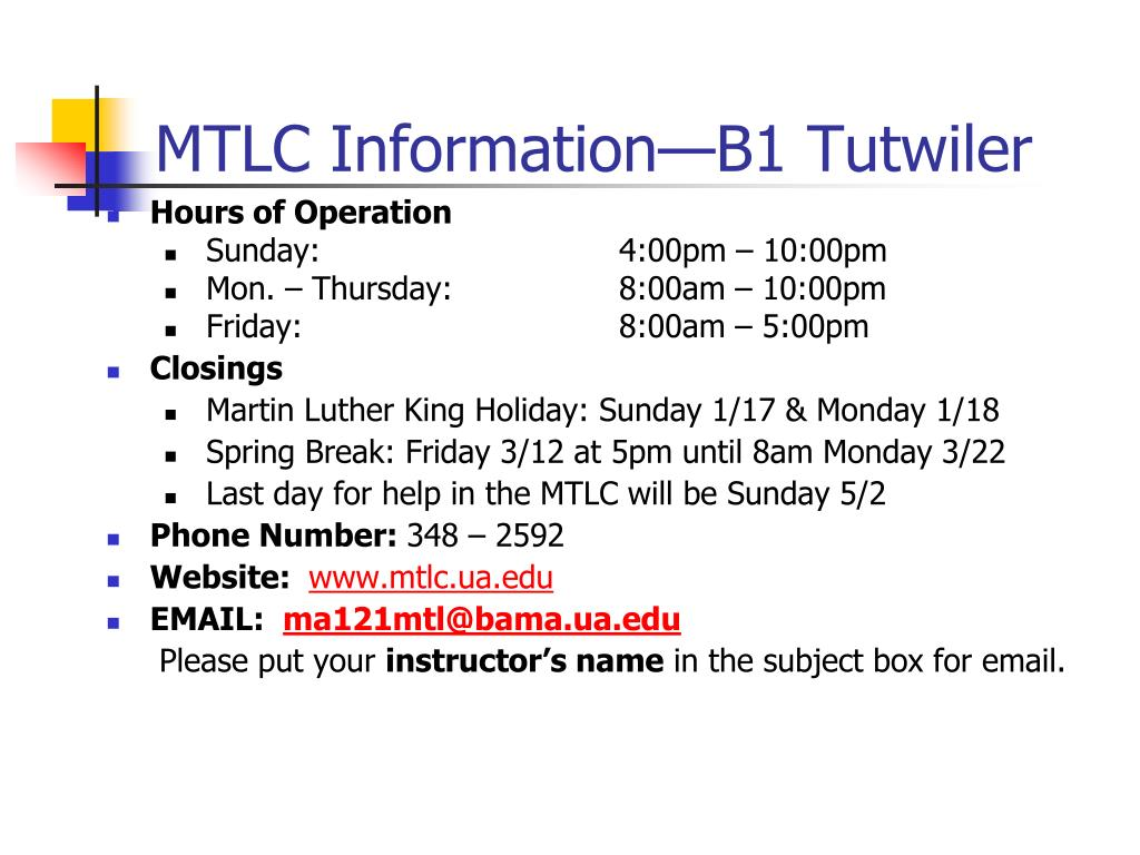 MTLC Information—B1 Tutwiler