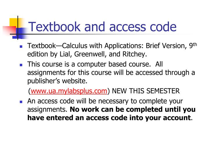 Textbook and access code l.jpg