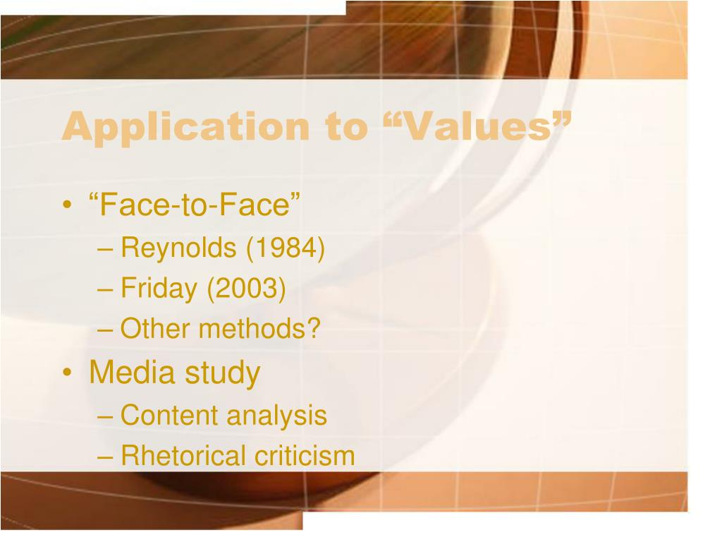 "Application to ""Values"""