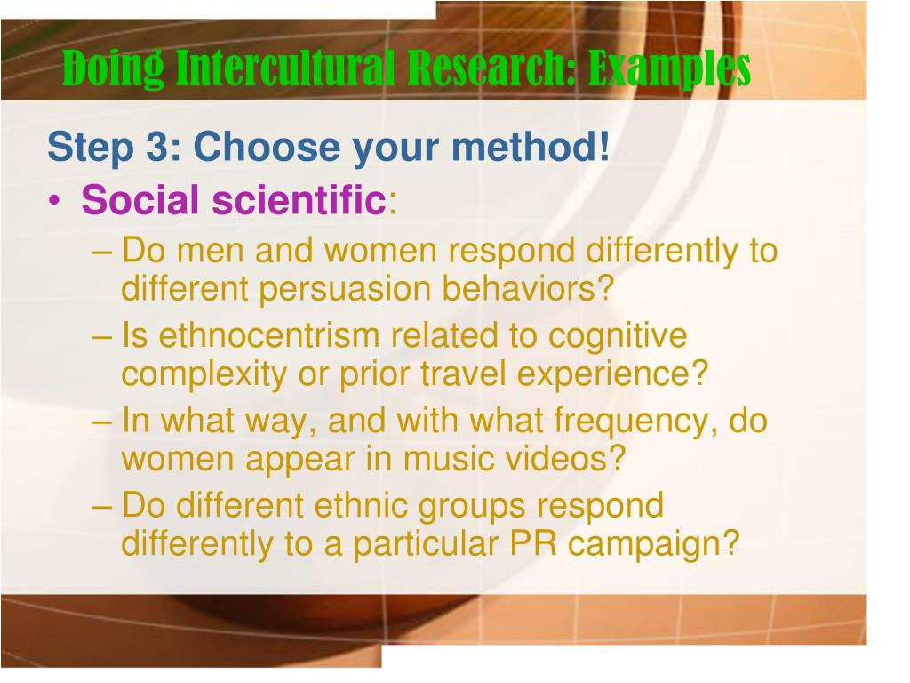 Doing Intercultural Research: Examples
