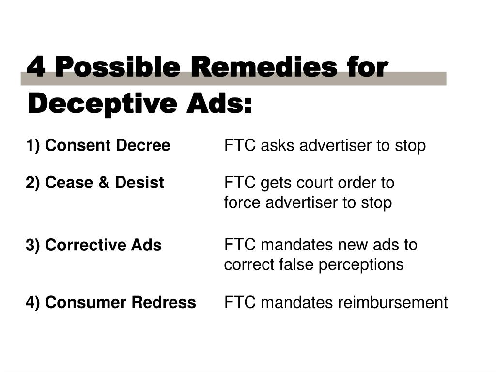 4 Possible Remedies for Deceptive Ads: