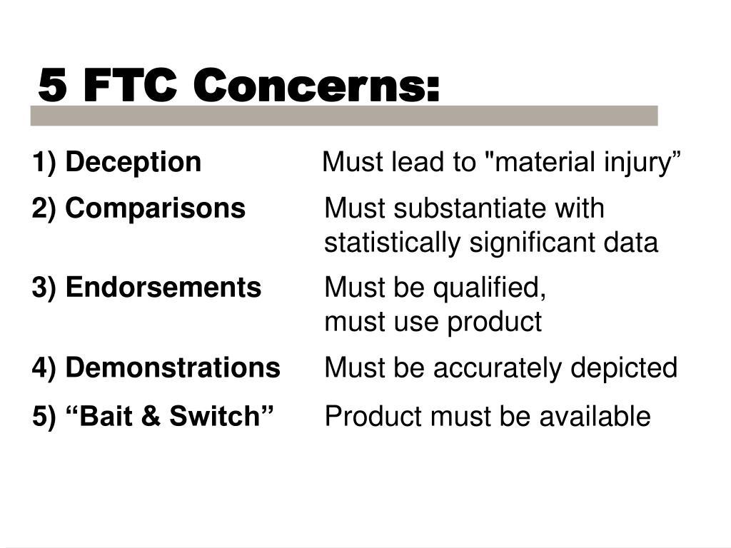 5 FTC Concerns: