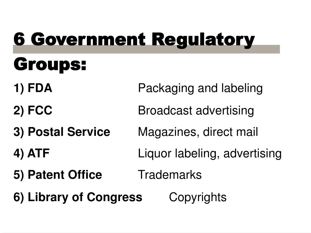 6 Government Regulatory Groups: