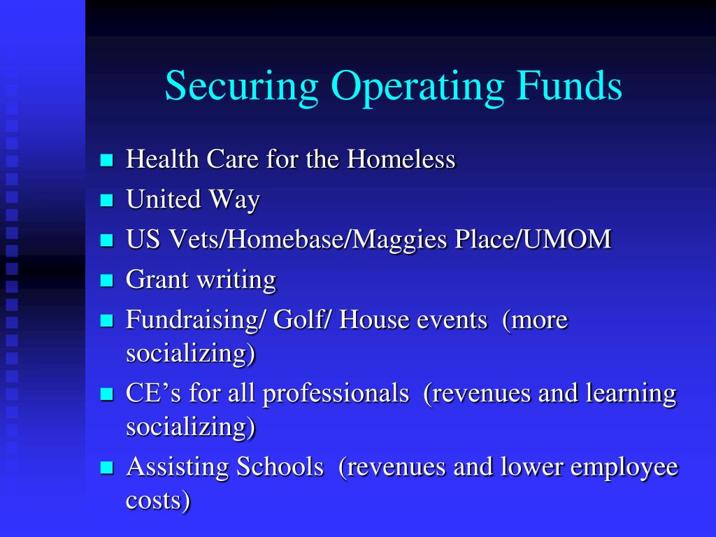 Securing Operating Funds