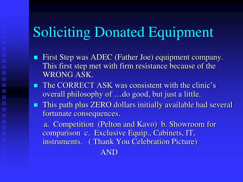 Soliciting Donated Equipment