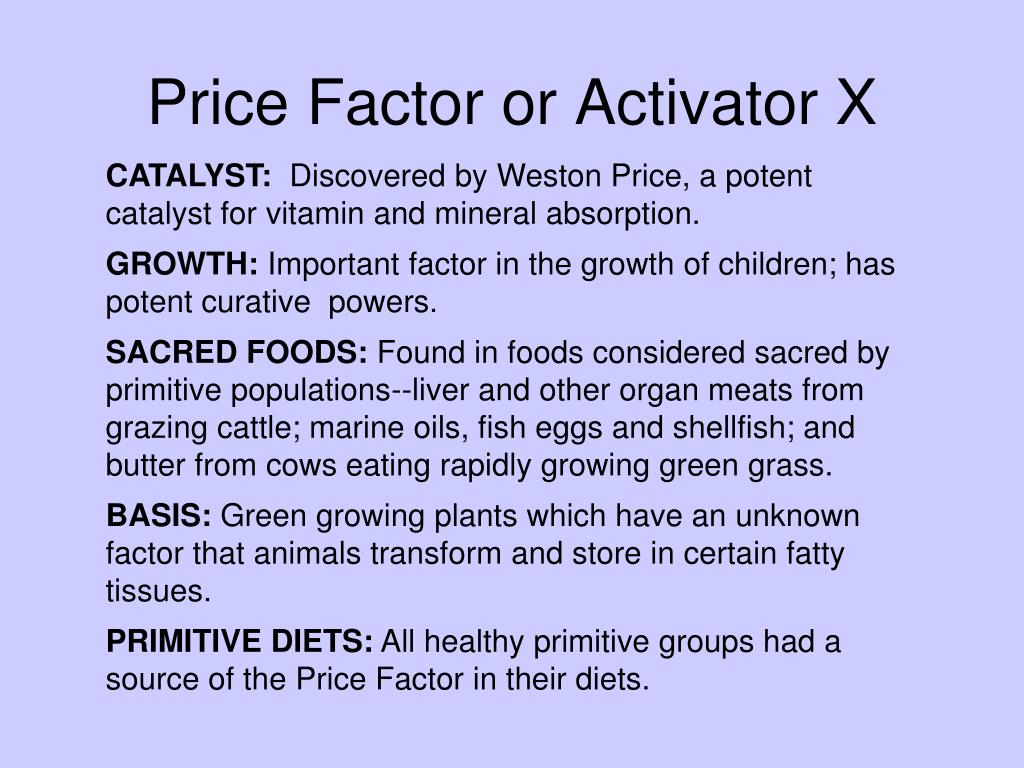 Price Factor or Activator X