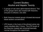 current studies alcohol and hepatic toxicity