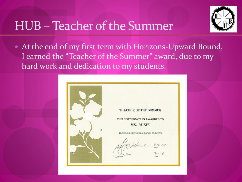 HUB – Teacher of the Summer