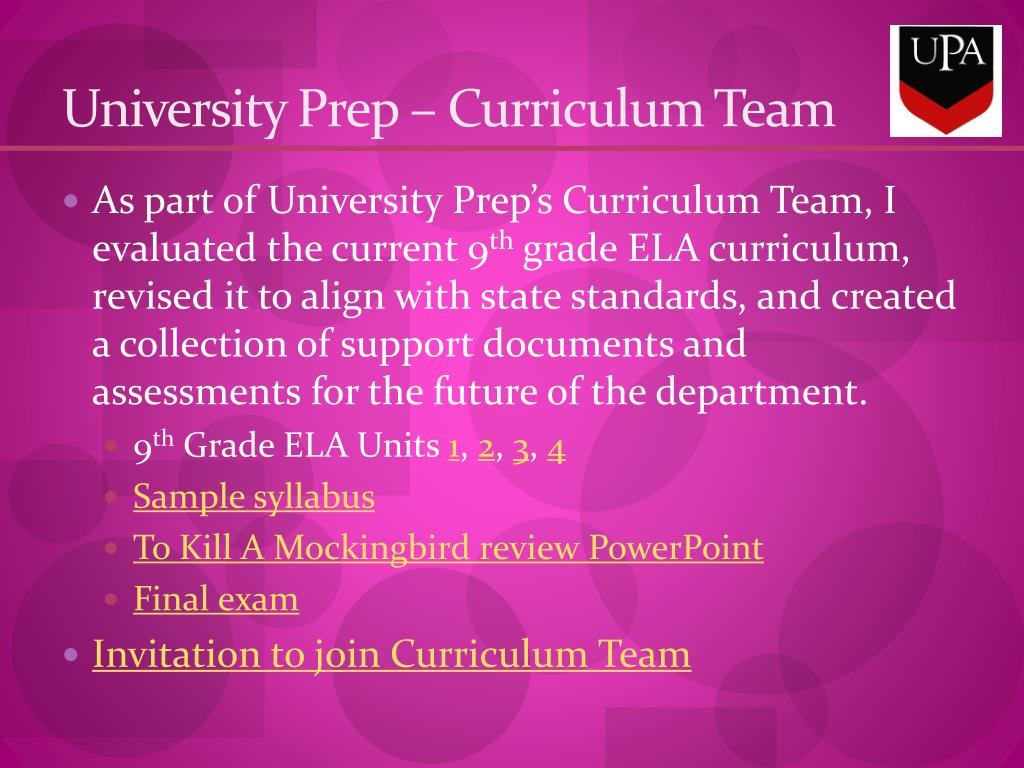 University Prep – Curriculum Team