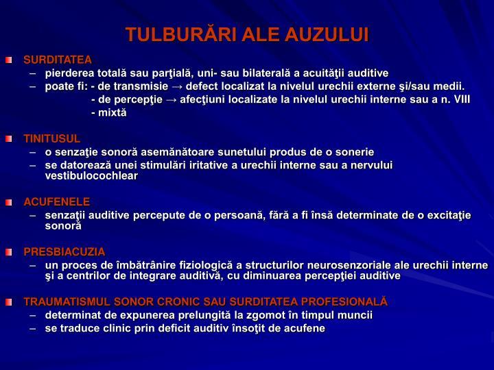 TULBURĂRI ALE AUZULUI