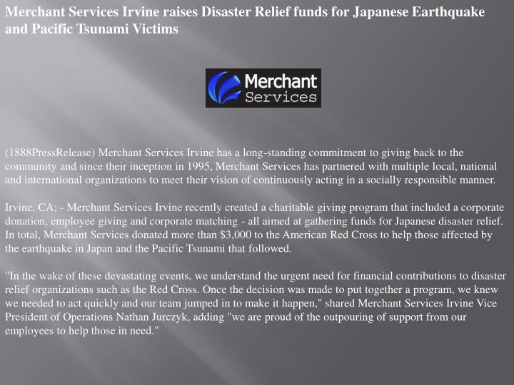 Merchant Services Irvine raises Disaster Relief funds for Japanese Earthquake and Pacific Tsunami Vi...